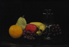 "Fruit and Wine 01 - oil on board, 10.75"" x 13.5"""
