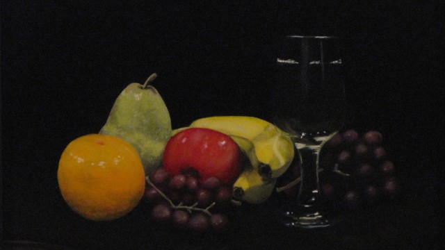 """Fruit and Wine 01 - oil on board, 10.75"""" x 13.5"""""""