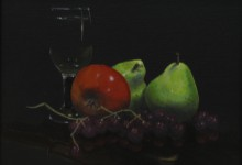 "Fruit and Wine 02 - oil on canvas, 9"" x 12"" - SOLD"