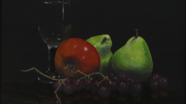 """Fruit and Wine 02 - oil on canvas, 9"""" x 12"""" - SOLD"""