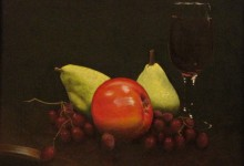 "Fruit and Wine 03 - oil on board, 11"" x 14"" - SOLD"