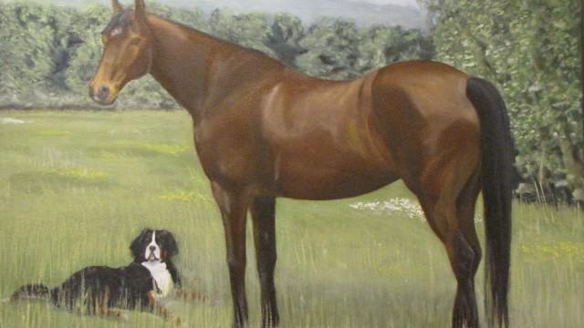 """Molly and Kahlua - oil on canvas, 18"""" x 24"""""""