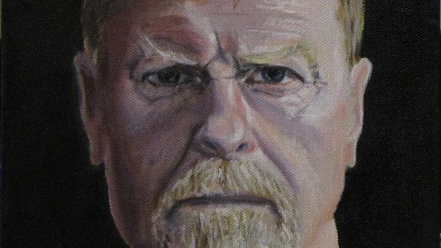 "Self-portrait - oil on canvas, 8"" x 8"""