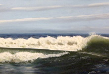 "Long Beach Surf - oil on canvas, 18"" x 36"""