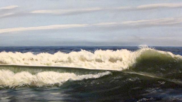 """Long Beach Surf - oil on canvas, 18"""" x 36"""""""