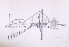 Winter Farm - ballpoint pen on paper