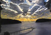 "Sunrise Over Saturna - oil on canvas, 30"" x 36"""