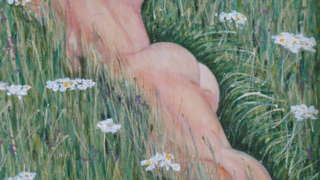 "Daisies - oil on canvas, 14"" x 18"""